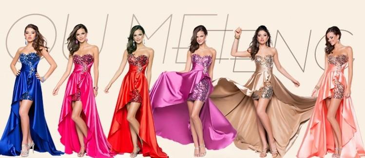 2015 Elegant Women Strapless Sweetheart Sequin Evening Dress Long Back Short Front Party/Prom Asymmetrical Dress Formal Dress(China (Mainland))