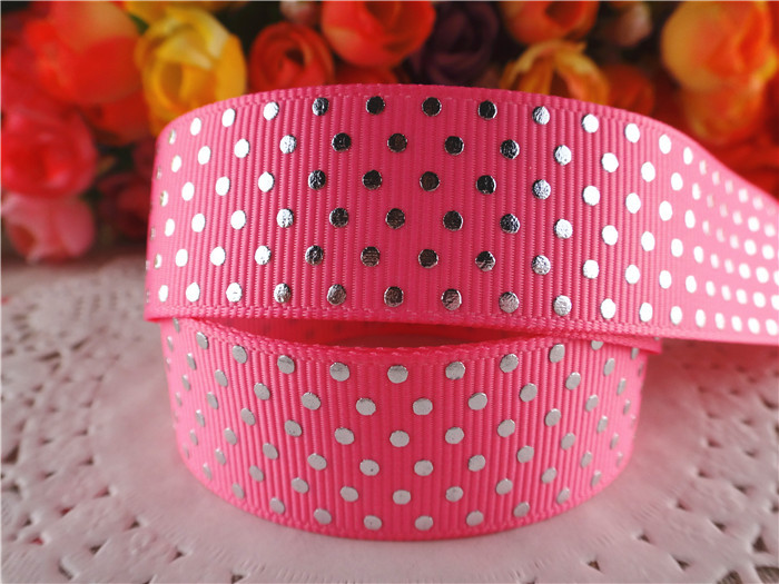 "New arrival 7/8"" (22mm) silver foil grosgrain ribbons pink dots ribbon hair accessories 10 yards SD1132(China (Mainland))"