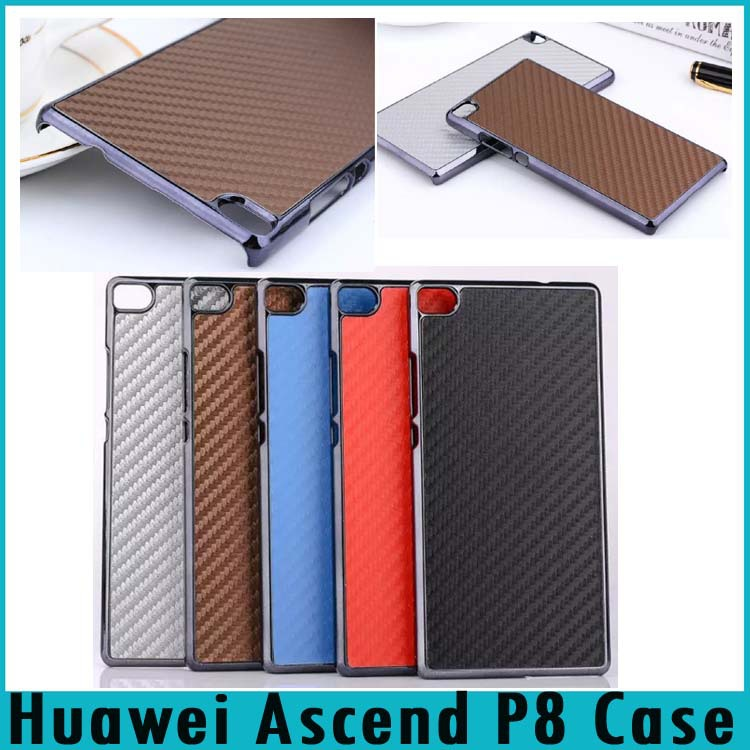 Huawei P8 Case Carbon Fiber Texture Leather Skin+Chrome Plastic Frame Hard Back Cover Ascend Phone Bag - Shenzhen Topwin Electronic Technology Co., Ltd. store
