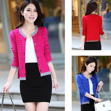 2014 new fashion Korean women's fall spring casual solid long sleeve crew neck knit cardigan plus size free/drop shipping K06(China (Mainland))