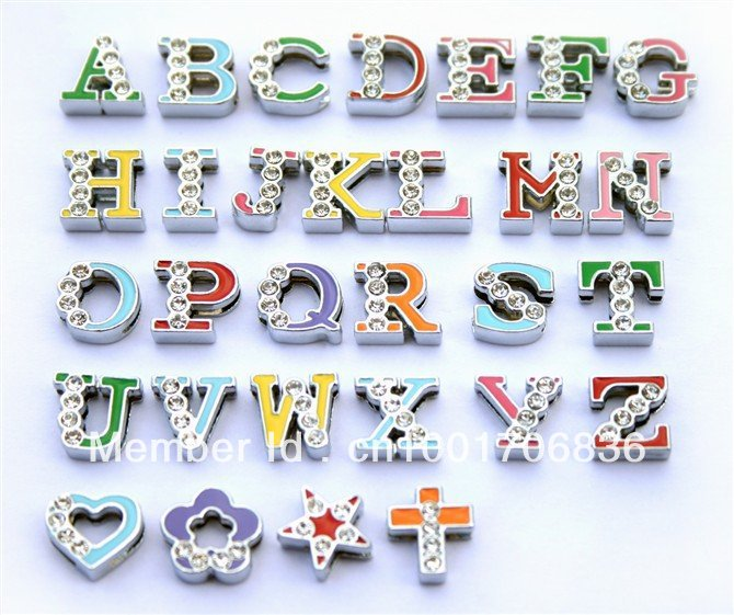130pcs 8mm Colored half rhinestone letters Slide letters DIY Accessories Fit Pet Collar Wristbands Belts(China (Mainland))