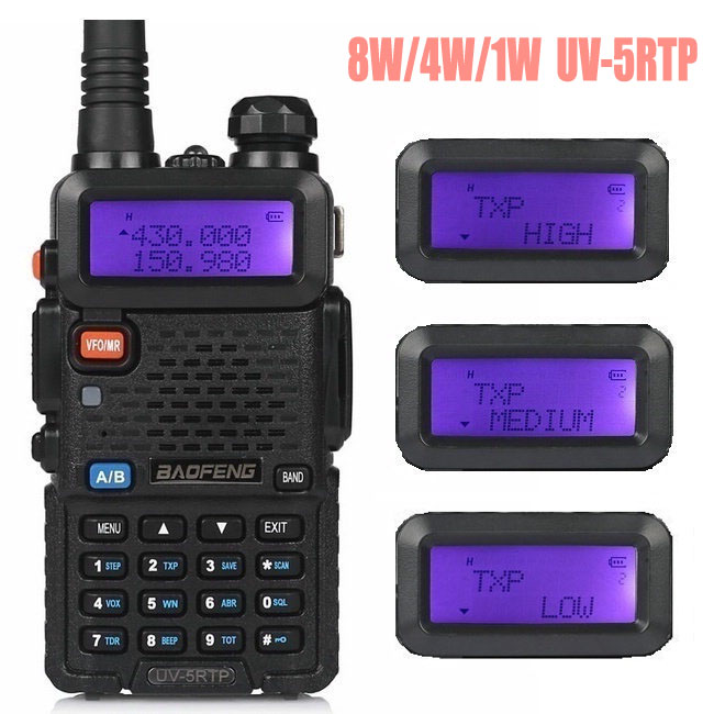 Baofeng UV-5R TP 8W High Power VHF/UHF 136-174/400-520MHz Dual Band FM True Two-way Ham Radio Walkie Talkie + Earpiece UV-5RTP(China (Mainland))