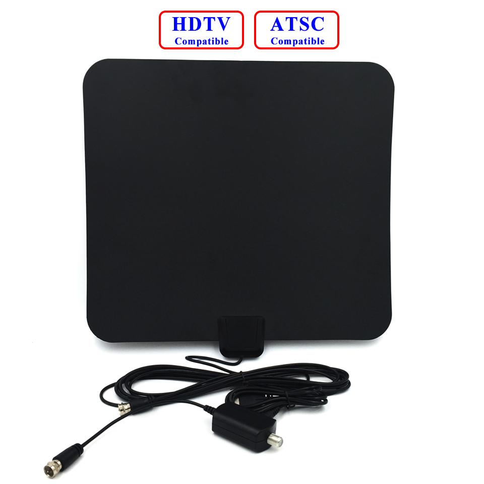 Indoor Digital HDTV Antenna 25dBi Ultra-thin with Detachable Amplifier Signal Booster ATSC Antenna DVB-T TV receiver VHF UHF FM(China (Mainland))