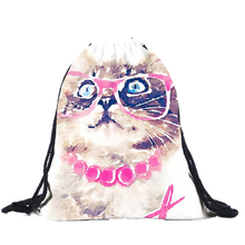 Best Deal New Good Quality Fashion Women Bags Double Shoulders Backpacks Cats Paintings Bags Drawstring Backpack Gift 1PC(China (Mainland))