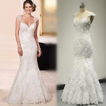 Vestido De Noiva Cap Sleeve Mermaid Wedding Dress Lace Appliqued Real Photo 2016 New Style Factory Custom Make 6105