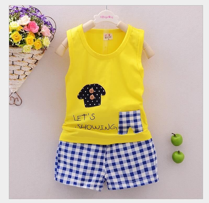 2016 baby clothes summer Set cartoon cotton sleeveless dress baby girl bebe baby girl boy clothes body suit kids sports clothes(China (Mainland))