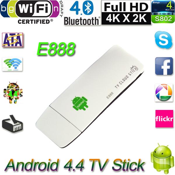 RK3188T 2G/8GB Android TV Dongle Stick E888 Mini PC Quad Core Android 4.4 tv stick dongle box XBMC Bluetooth DLNA Wifi DE Stock(China (Mainland))