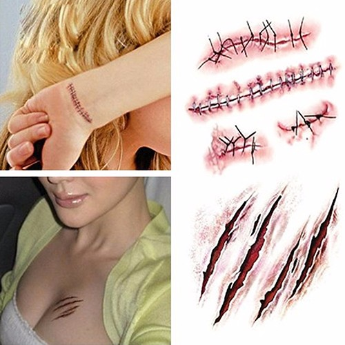 New arrival! 5Pcs Halloween Special Costume Makeup Zombie Scars Tattoos with Fake Scab Blood