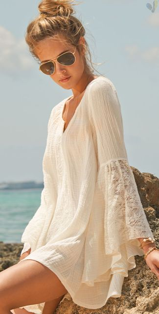 v-neck flare cover-up