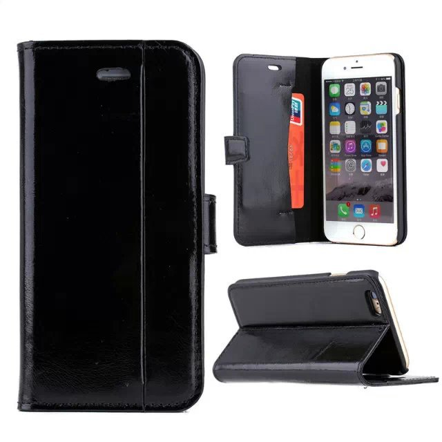 Newest Oil Wax Luxury Genuine Leather Case For iPhone 5 5S 5G with Stand Flip Design Phone Case with Card Holder Retail Box(China (Mainland))