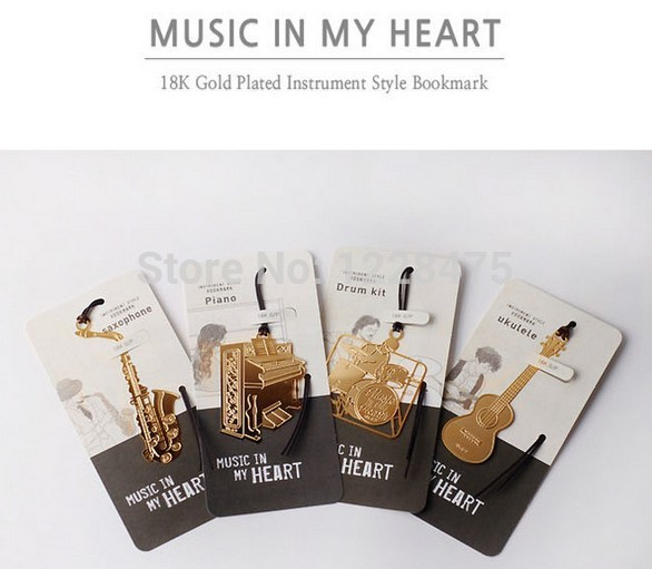 New Creative Vintage musical instrument designs Metal Bookmark/DIY Multifunction Gold Book marks/funny gift(China (Mainland))