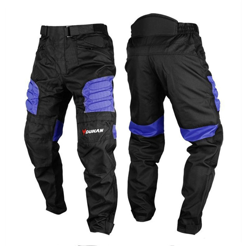 DUHAN Men's Motocross Windproof Sports Pants Knee Protector Guards Racing Oxford Cloth Riding Motocycle Trousers