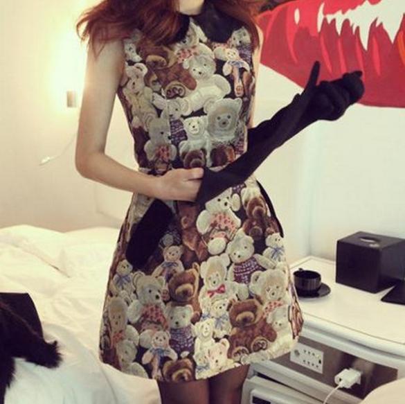 2015 new spring high quality turn-down collar slim one-piece dress sleeveless slim waist tank dress bear casual dress J27(China (Mainland))