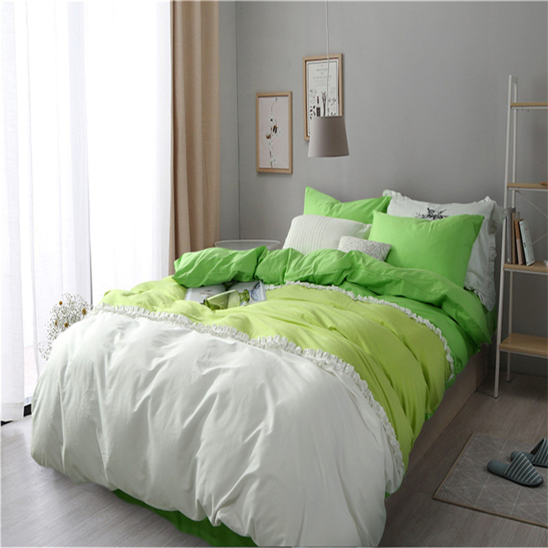 Korean Princess bedding set pure color stitching duvet cover queen size bed linen bed sheet/fitted sheet bedspreads home textile(China (Mainland))