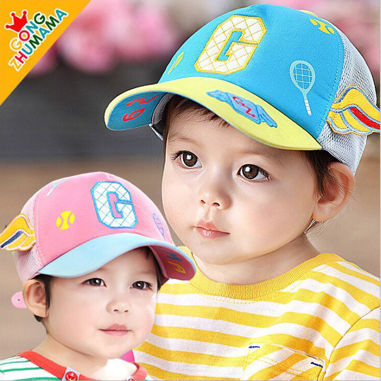 Baby Baseball Caps Mesh Hats hiphop Letter G and Wings For Children 1-5 Years(China (Mainland))