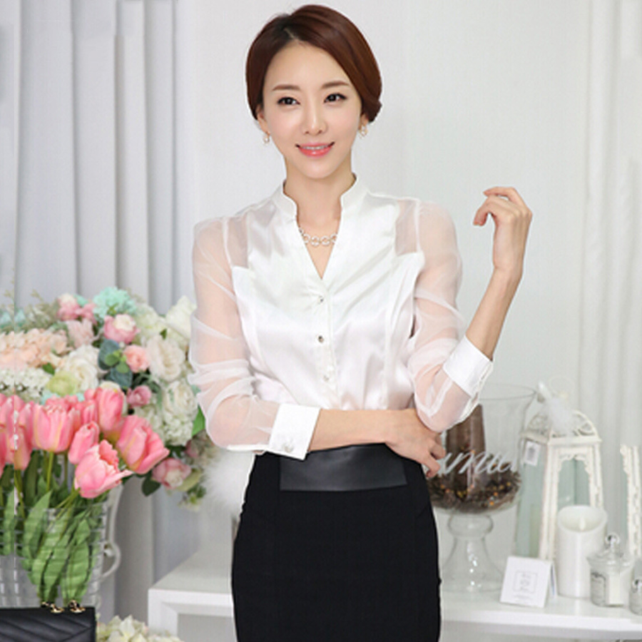 Womens White Satin Blouse 4