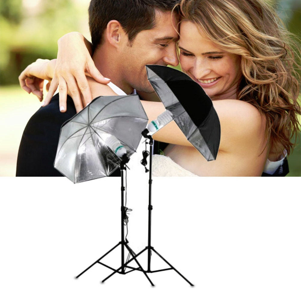 "Hot New 1Pcs 83cm 33"" Po Studio Flash Light Grained Black Silver Umbrella Reflective Reflector(China (Mainland))"