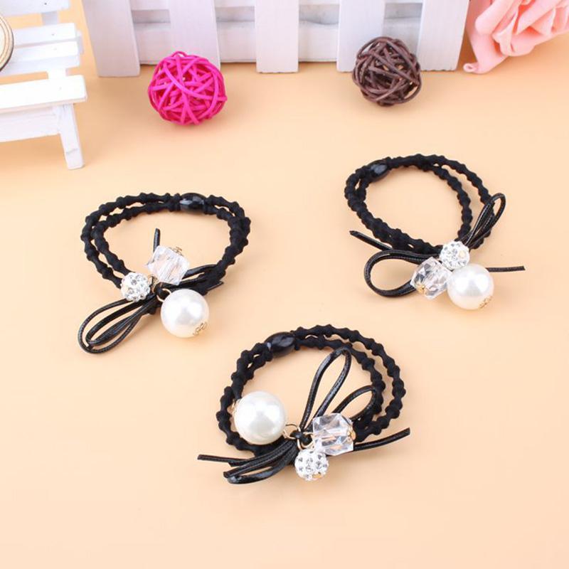 New Korean Women Hair Accessories Rhinestone Tiara Hair Rope Imitation Pearl Elastic Headband Rubber Hair Band(China (Mainland))