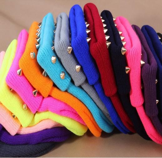 New 2013 Winter Fashion Women Warm Wool Caps Neon Harajuku Beanies Studded Rivets Women's Knitted Hats - Bayo Factory store