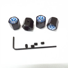 Free Shipping black Metal Anti-theft Style Car Wheel Tire Valve Caps Tyre Dust Caps For blue VW car(China (Mainland))