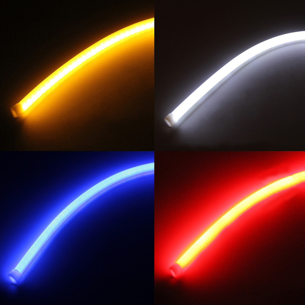 Car-styling 2pcs 60cm DRL Flexible LED Tube Strip Style Daytime Running Lights Tear Strip Car Headlight Turn Signal Light 12V