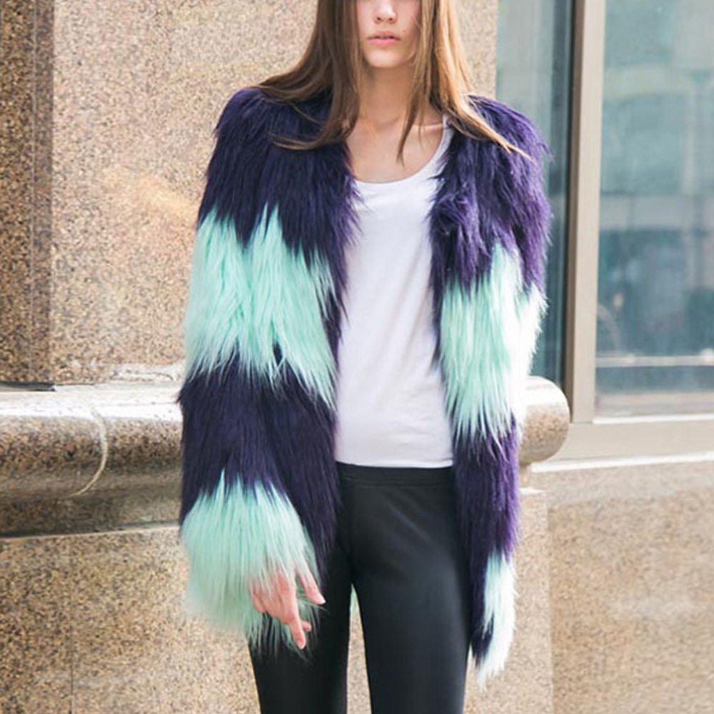 Women Hairy Shaggy Faux Sheep Goat Fur O-Neck Contrast Color Striped Jackets Long Coat Outerwear Super Good Quality - Sexy Woman Line store
