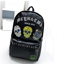 Punk Rock Fashion Leather Women Skull Backpacks for Motorcycle Men Laptop Bagpacks Boys Black Rivet Printing Bags Mochilas 1040t(China (Mainland))