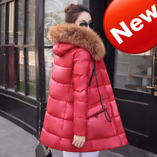 2016 New Female Long Parkas Large Fur Collar Women Winter Down Coat Slim Thickening White Duck