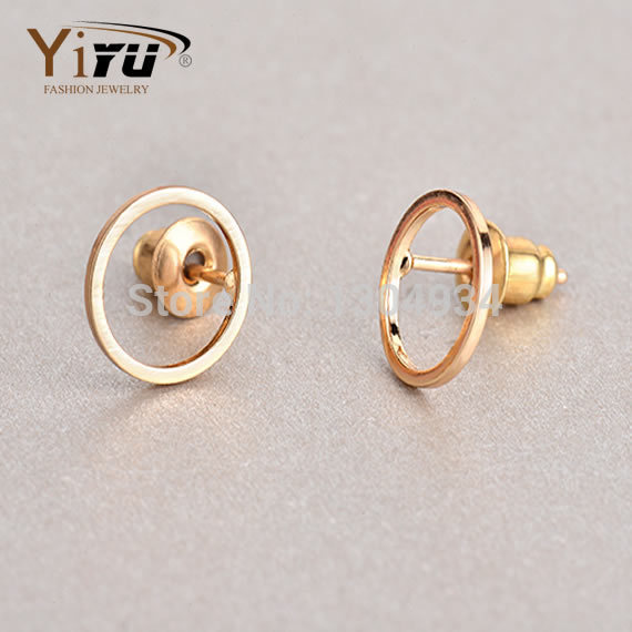 Free shipping 10pcs/lot Brass Hollow Round Stud Earrings, Tiny Round Circle Shape Earring Studs Jewelry E063<br><br>Aliexpress