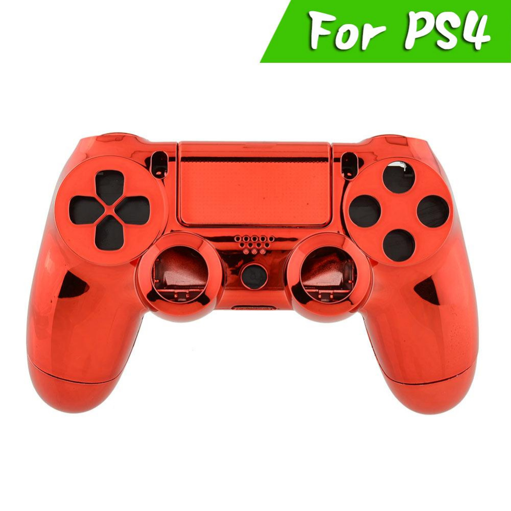 Cool Wireless Controller Gamepad Shell Chrome Red Cover +Button For Sony PlayStation 4 DualShock PS4 Joystick Replacement Tool(China (Mainland))