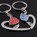 New Fashion Heart And Red Blue Rose Key Chain Charming Keychains Couple Key Ring Flash Bright