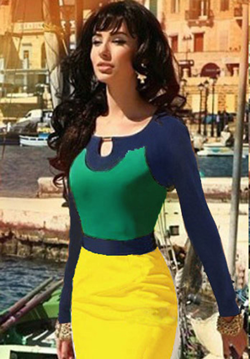 New Fashion 2015 Elegant Seleb Square Collar Full Sleeve Knee-length Patchwork Stretch Bodycon Party Cocktail Women Dresses(China (Mainland))
