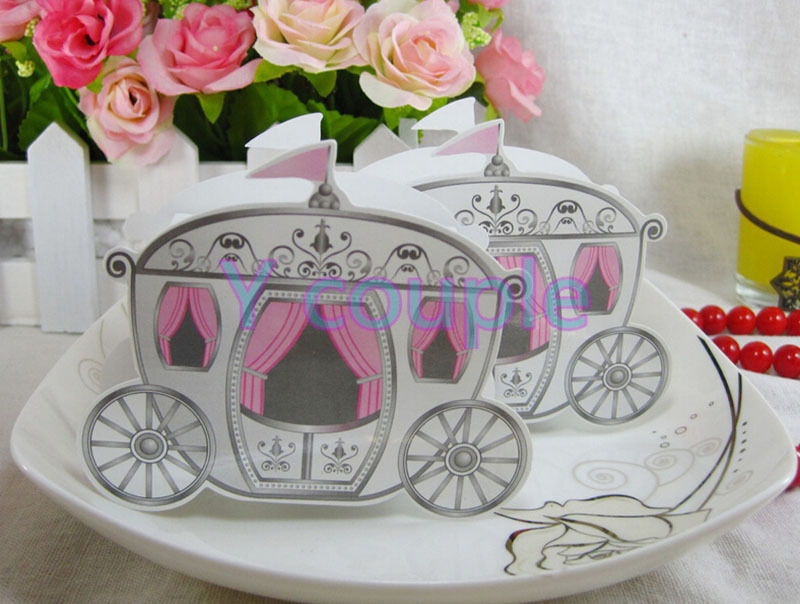 Cinderella Pumpkin Fairy Tale princess Carriage Wedding Party Baby Shower Favors Candy Gift Boxes WS0045*50 - Y Couple store