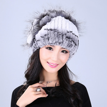 Winter fur hat for women real rex rabbit fur hat with silver fox fur flower knitted beanie 2016 new sale high-end women fur cap