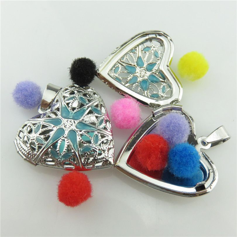 Free 1X Dull Alloy 26mm Enamel Blue Flower Aroma Diffuser Heart Photo Picture Locket