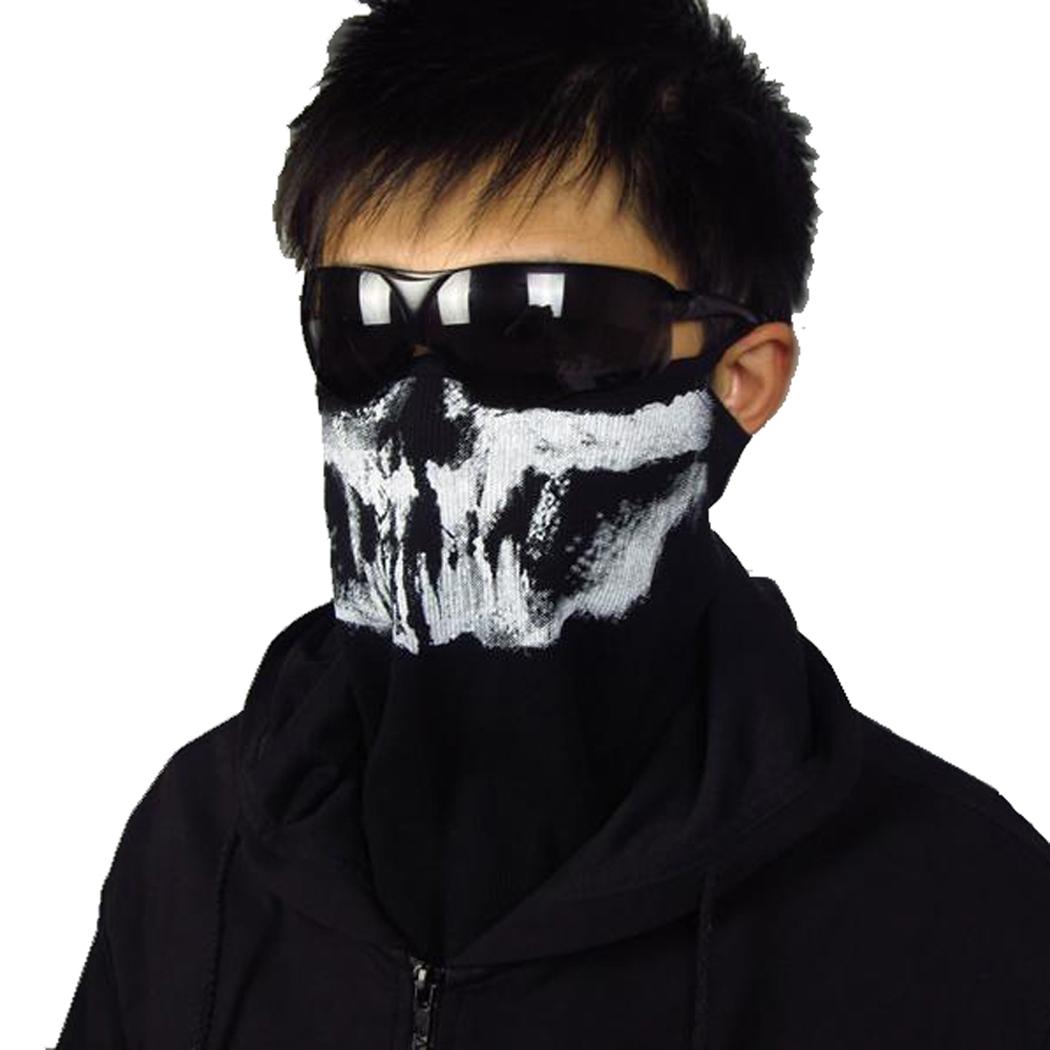 New Men Half Face Mask Skull Ghost Death Balaclava Airsoft Costume Headwear Motorcycle Halloween Game Cosplay Mask Hood(China (Mainland))