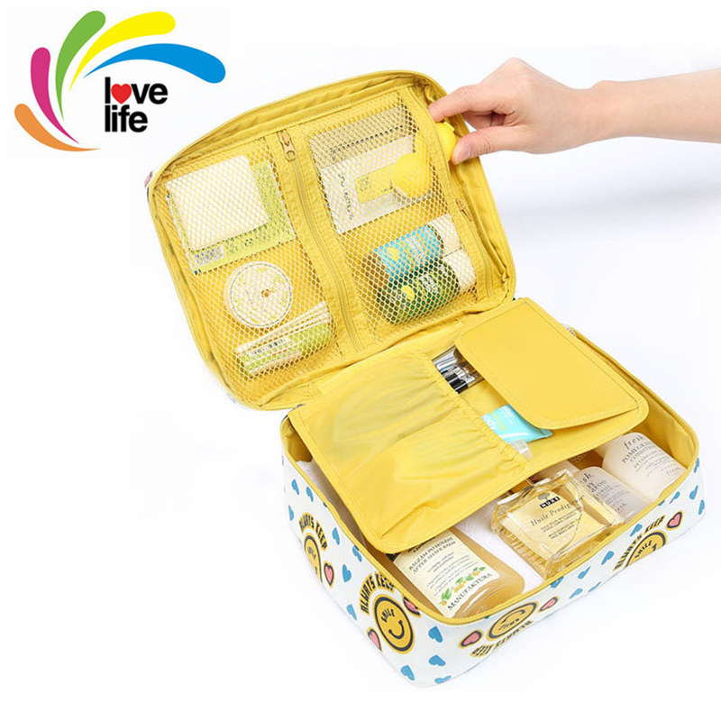 2016 New Upgraded Travel Toiletry Kits Cosmetic Bag Make Up Organizer Box Multifunction Waterproof Travel Pouch 6-color Optional(China (Mainland))