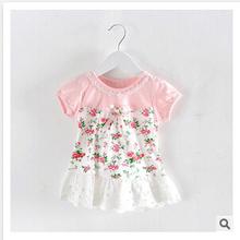 girl dress 2015 summer floral baby girl dress princess dress 3 color infant dresses kids clothing KT462(China (Mainland))