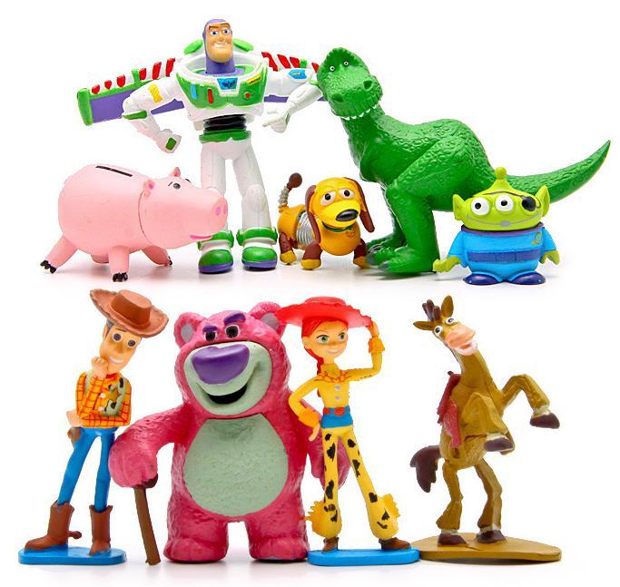 9pcs/bag TOY STORY 3 Cartoon Anime Movie Buzz Lightyear Woody Green Man Action Figures Mini Toy PVC 6-8CM Kids Toys Dolls(China (Mainland))