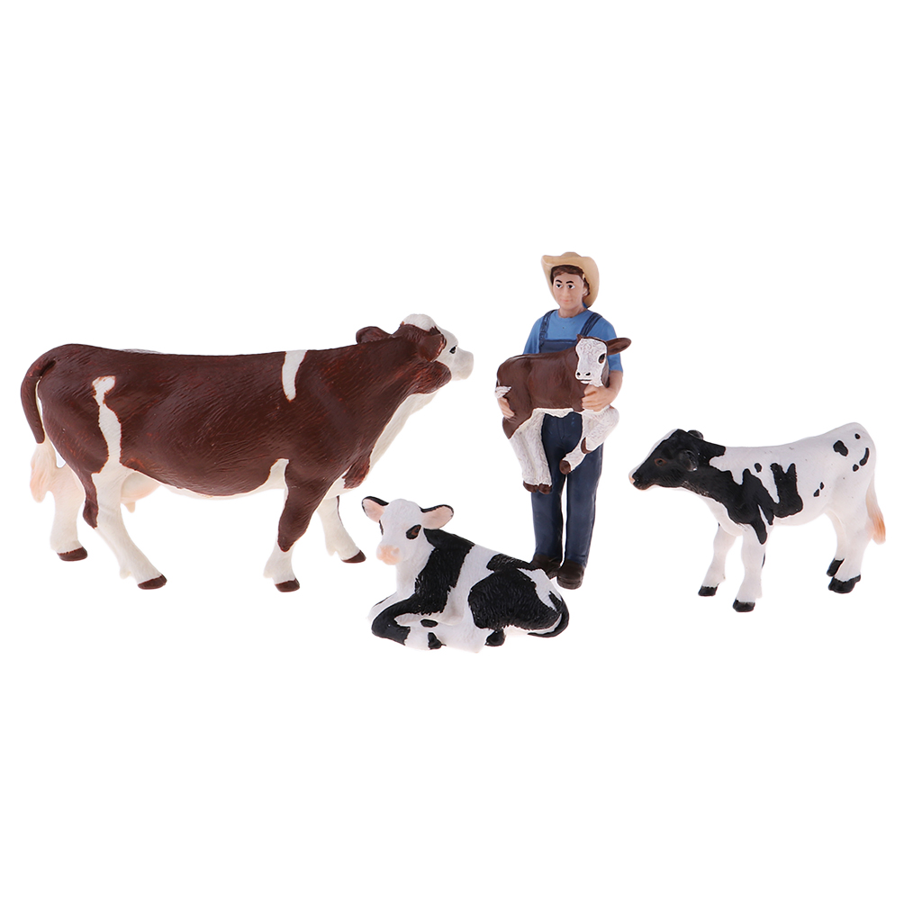 Educational Farm Animal Figures Playset with Farmer & 4 Cows, Educational Learning Toys for Kids Boys Girls
