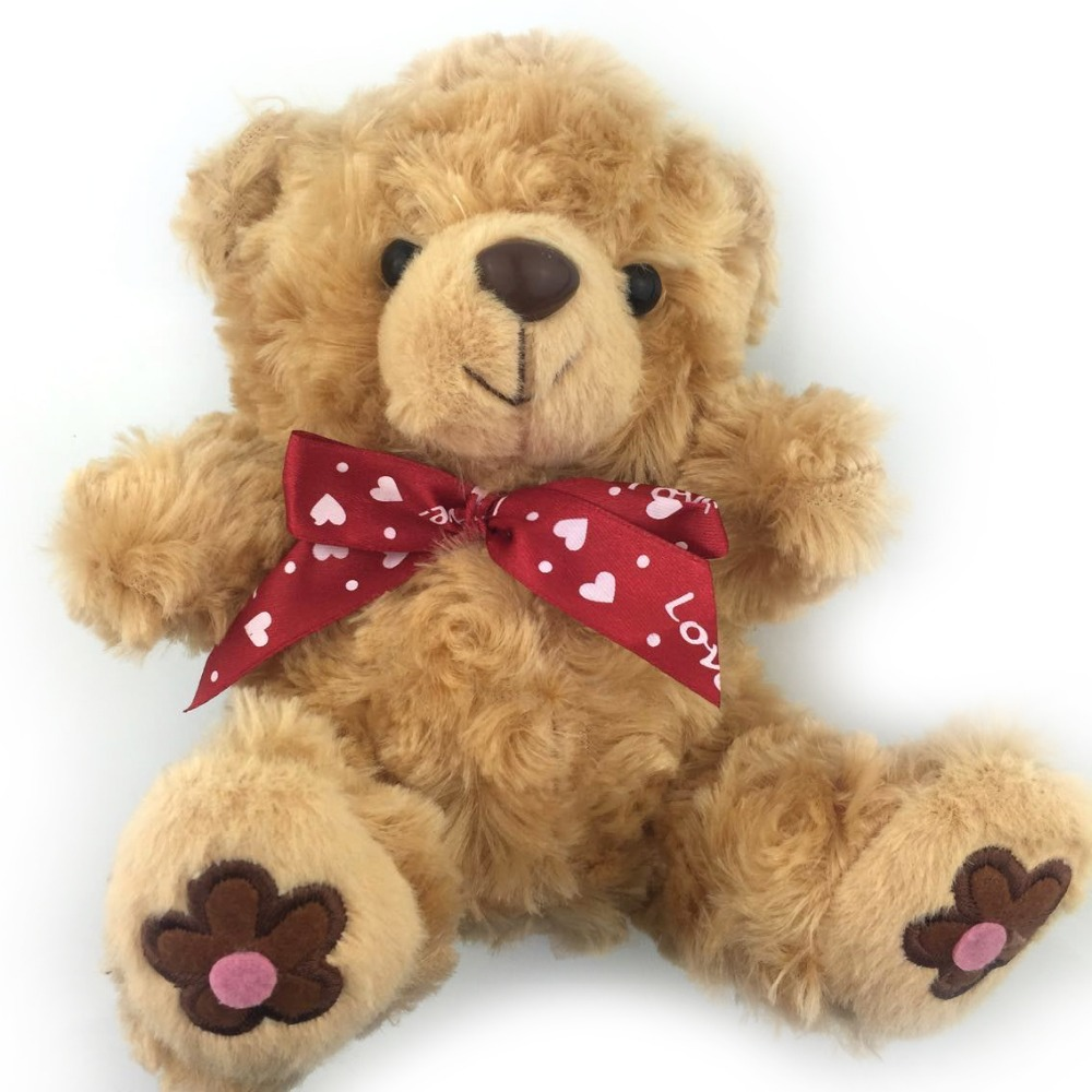 20CM New 2015 Cute Brown Teddy Bear Plush Toys Red Bow Tie Bear Dolls Children Love Super Soft Good Quality Factory Price NT083E(China (Mainland))