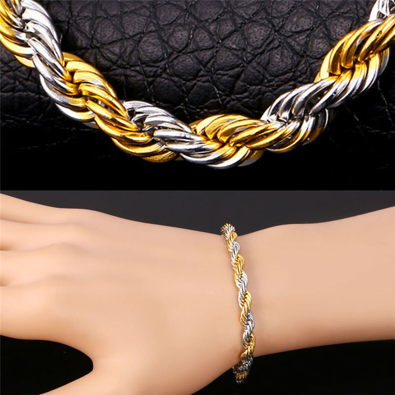 Two Tone Gold Bracelets Men's Twisted Chain Stainless Steel 18K Real Gold Plated New 2015 For Men Punk Bracelets & Bangles H233(China (Mainland))