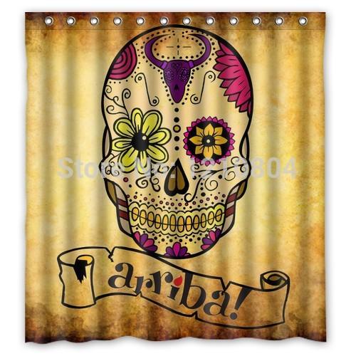 Cortinas De Baño Personalizadas:del tatuaje del cráneo personalizada baño cortina de ducha cortina