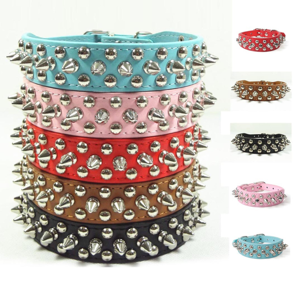 Sassy Spiked Studded Faux Leather Pet Dog Collar Adjustable Harness XS S M L(China (Mainland))