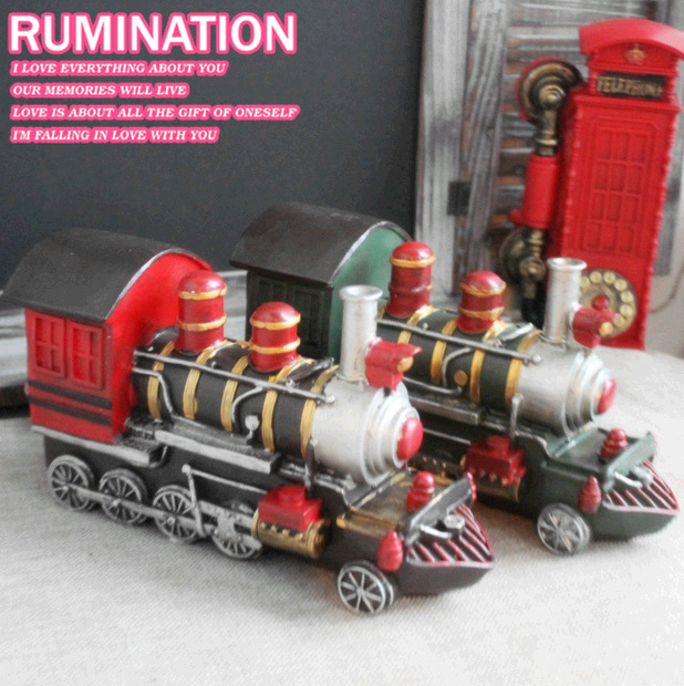 2pcs/lot Home Vintage Old Style Train Model Bar Coffee Shop Decor European American Style Resin Crafts Antique Imitation WZ(China (Mainland))