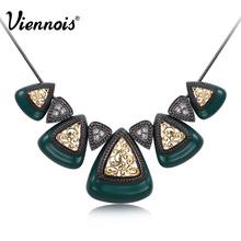 Viennois мода ювелирные изделия серебряная роза позолоченные треугольная ожерелья шкентеля австрийский горный хрусталь зеленый черный белый цвет(China (Mainland))