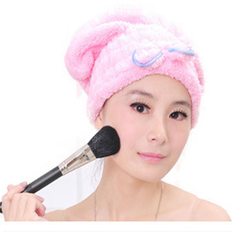 1pcs Pink Color Textile Microfiber Super Absorbent Towel For Girls Hair Turban Quickly Dry Hair Hat Bowknot Towel Bath(China (Mainland))