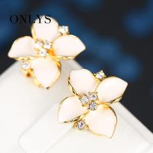 ONLYS 2015 Four Leaf Clover Earrings Stud Women Brand 18k Gold Plated Austrian Crystal Earrings 3 Colors jewelry JYE0071(China (Mainland))