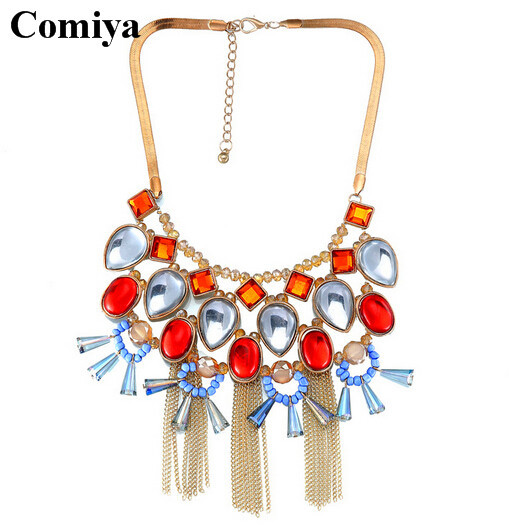 Links Chains collares femininos collar statement necklace chunky gold chain bohemia ethnic tassels Rhinestones necklaces jewelry(China (Mainland))