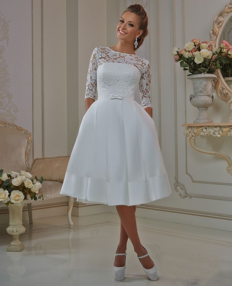 Elegant lace sleeve short wedding dresses 2016 scoop neck for Short sleeved wedding dress